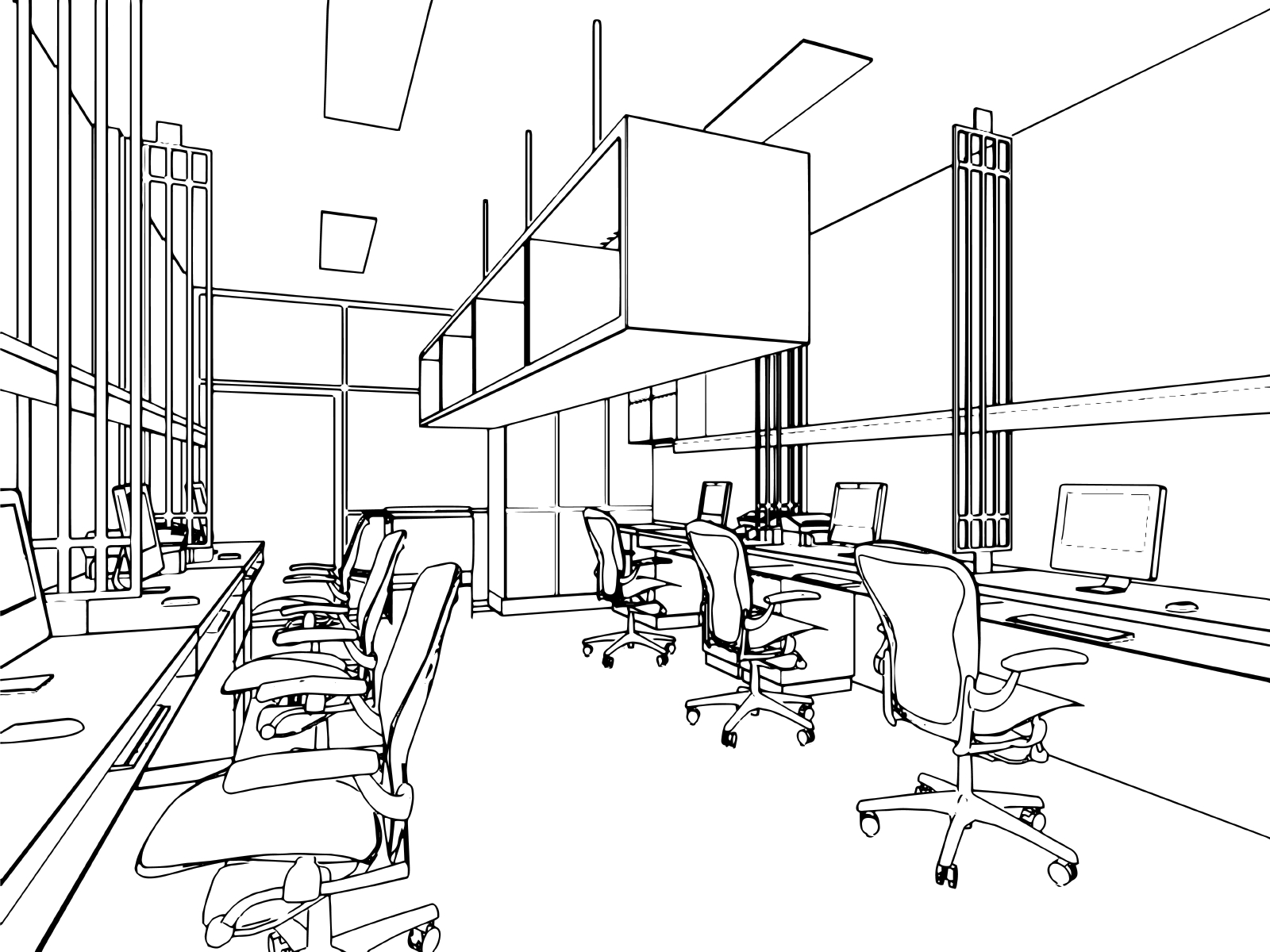 outline sketch of a interior office build out