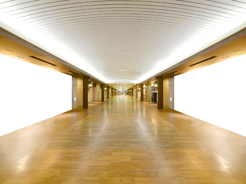 Long wooden floor in commercial building